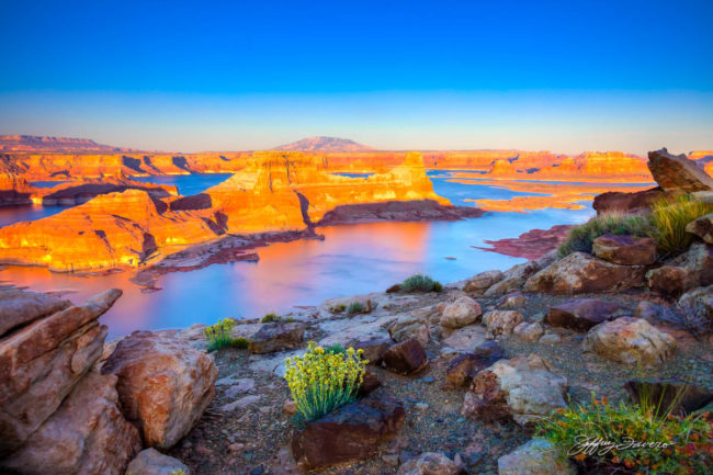 Spring Sunset Gunsight Butte - Lake Powell