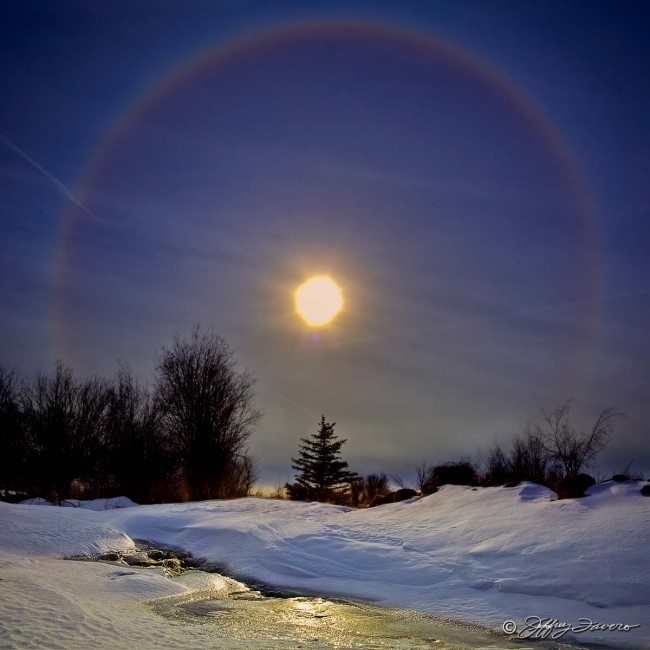 Sunbow Over Frozen Stream