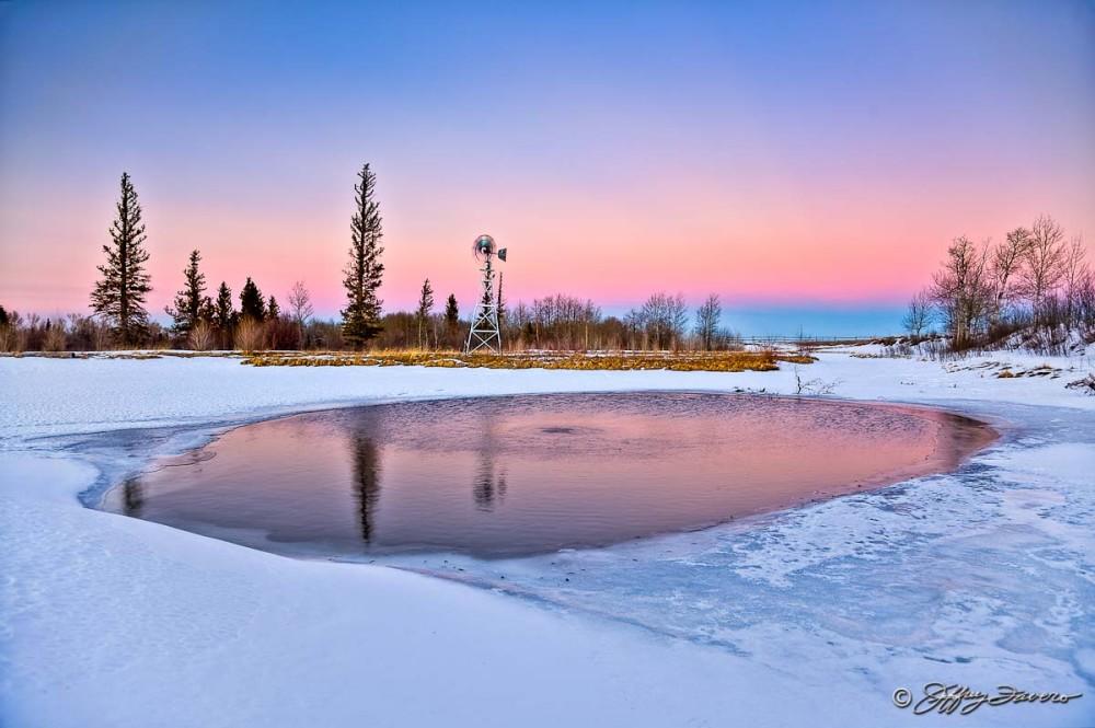 Sunset Pond Reflection