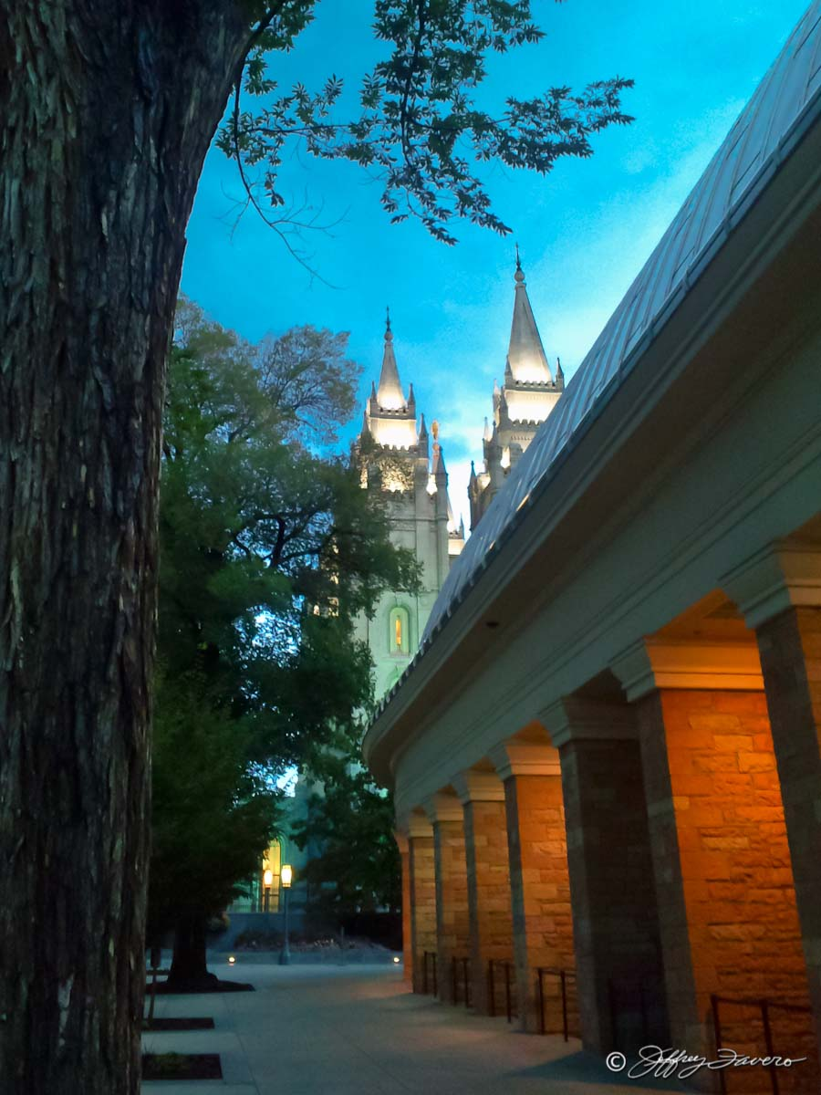 Salt Lake Temple Spires From Tabernacle Sidewalk