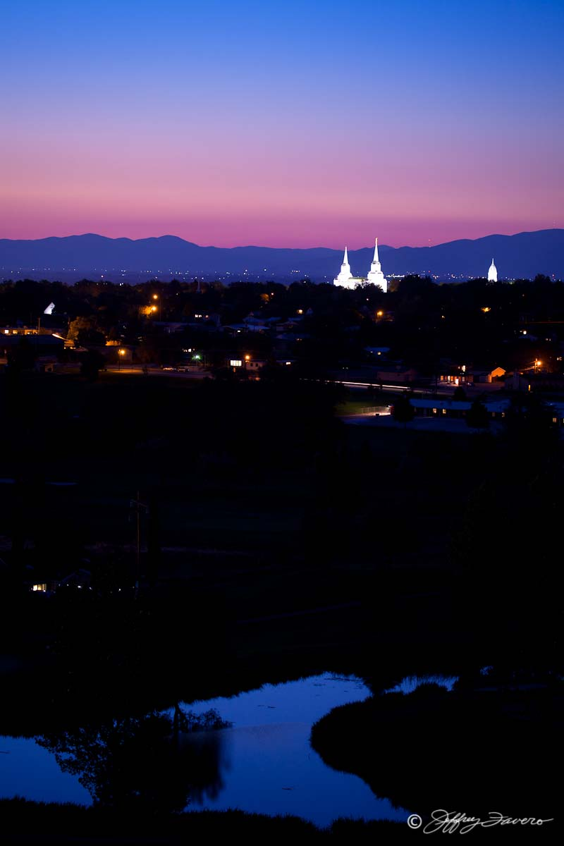Brigham City Temple - Tabernacle Spires Over Golf Course