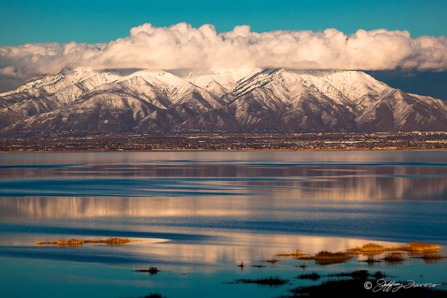 Wasatch Front From Antelope Island State Park - Utah