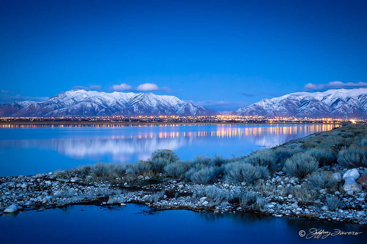 Mid Causeway Wasatch Front Reflection Antelope Island