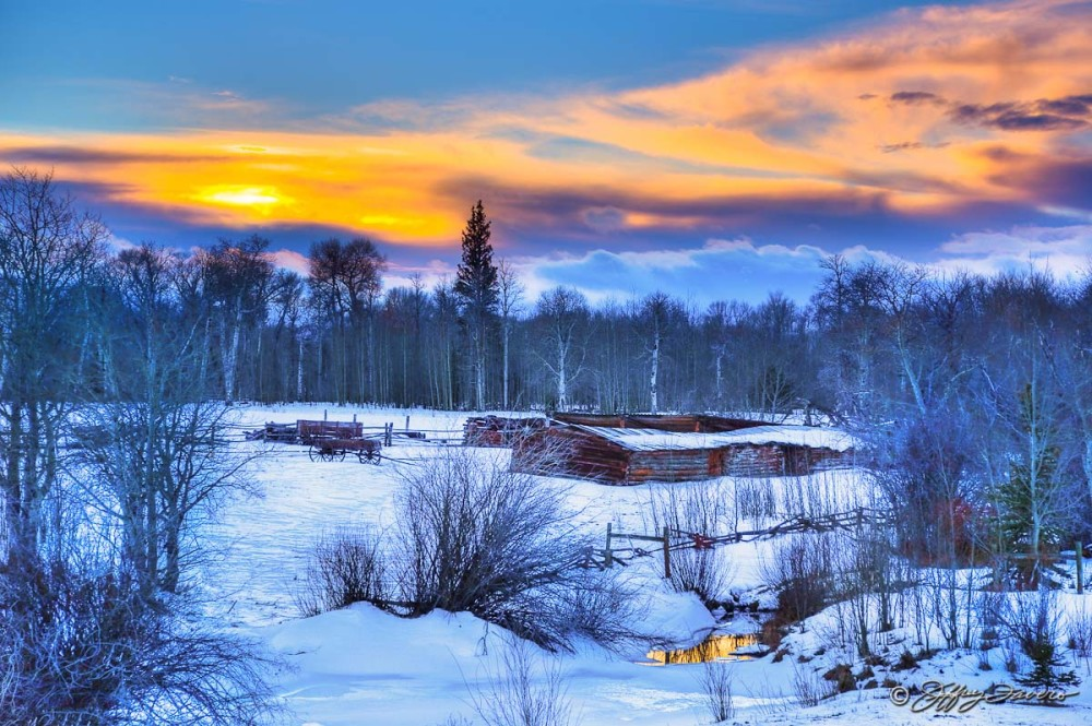 Sunset Over Winter Wagons