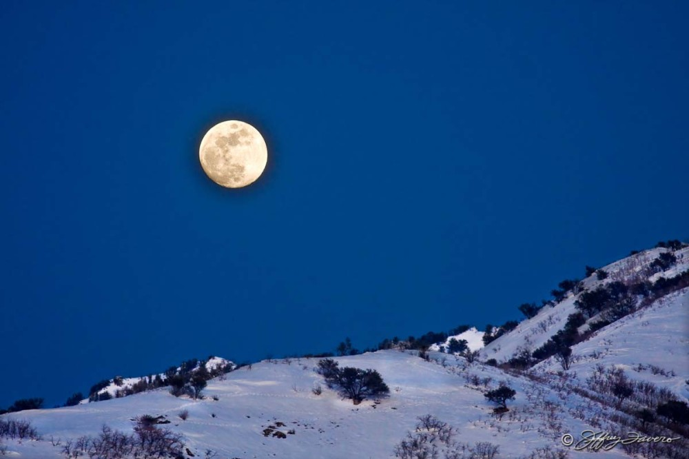 February Full Moon Over Wasatch Front