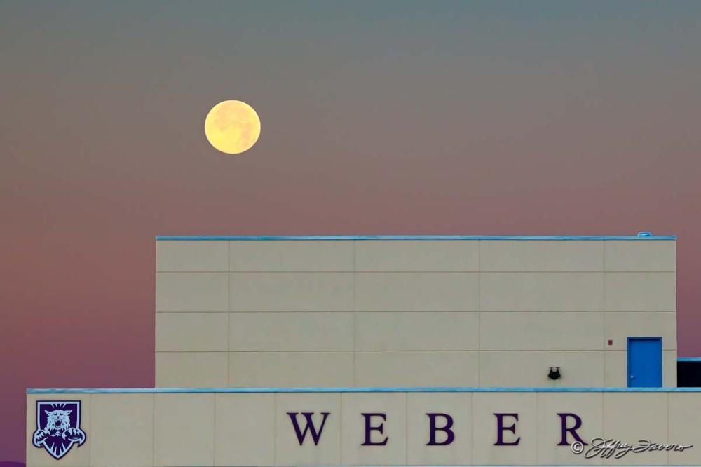Moonset Over Weber Stadium - Ogden, Utah