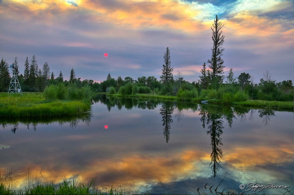 Red Sun Pond Reflection