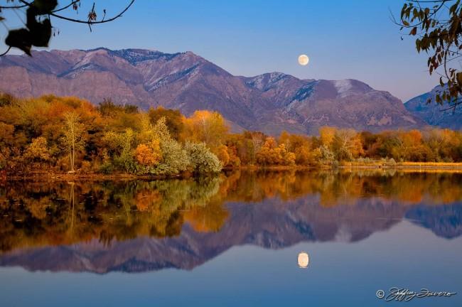 Moonrise Reflection - 21st Street Pond