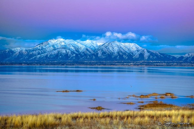 Winter Wasatch Front From Antelope Island