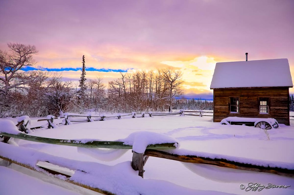 Pioneer Schoolhouse Winter Sunrise