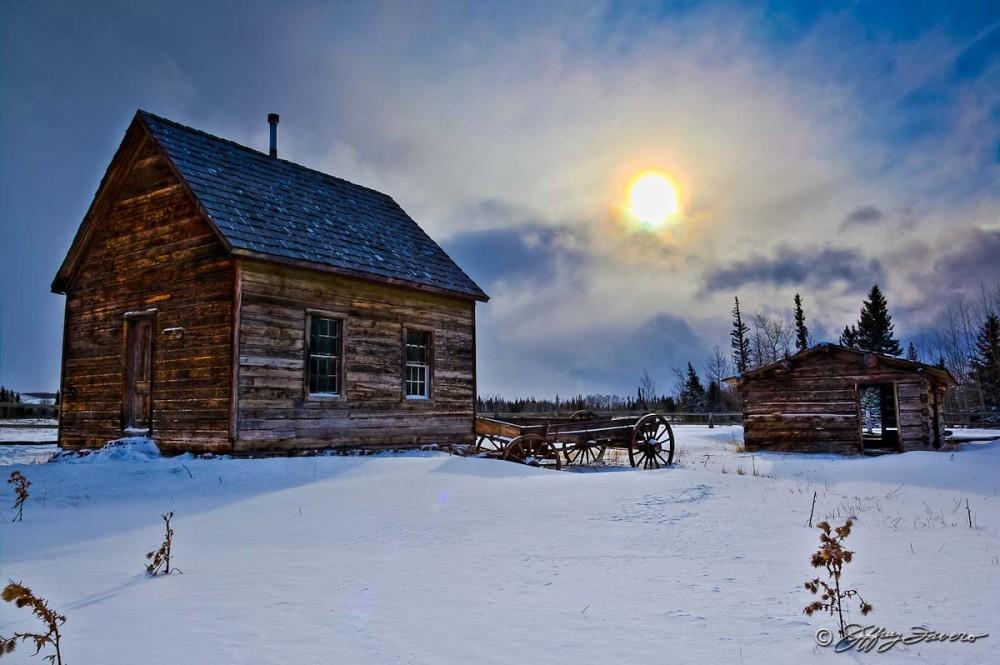 Winter Sun Over Pioneer Schoohouse
