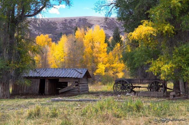Fall Cabin And Wagon