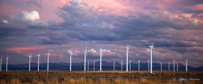 Colorful Sky and Wind Turbines